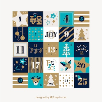 Pretty christmas calendar with ornaments and stripes
