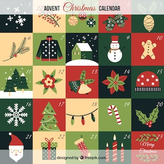 Pretty christmas calendar with ornaments Free Vector
