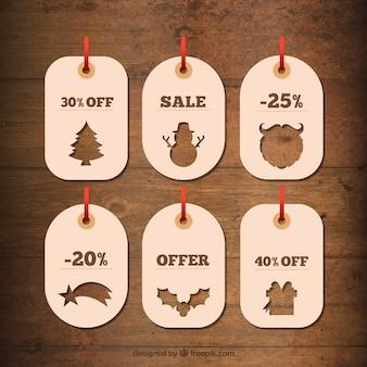 シルエットとプリティクリスマス割引カード