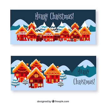 Pretty christmas village banners in flat design