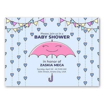 Invito dell'acquazzone di bambino grazioso chuva de amor