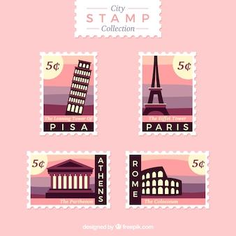Pretty city stamps in purple tones