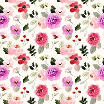 Pretty colorful floral watercolor seamless pattern