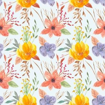 かなりカラフルな花の水彩画のシームレスパターン