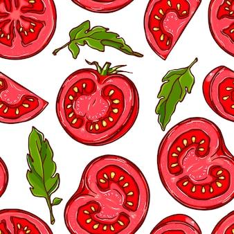 Довольно красочный фон из рисованной нарезанного помидора.