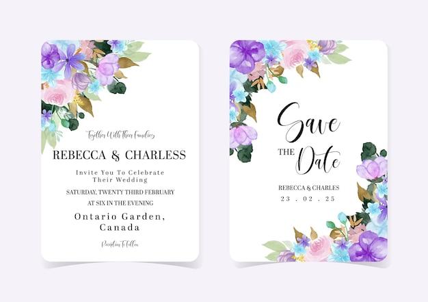 Pretty colorful set of floral wedding invitation