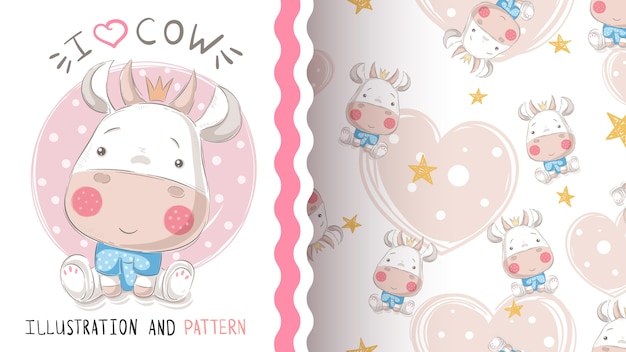 Pretty cute cow - seamless pattern