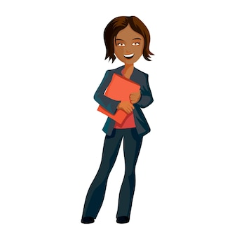 Pretty dark young business woman with a folder for papers in hands. cartoon character vector illustration, isolated on white background.