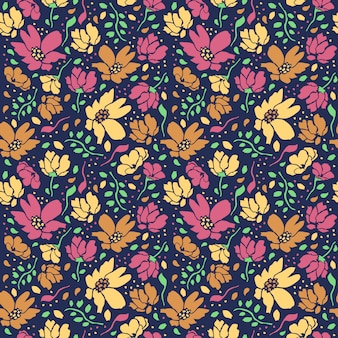 Pretty ditsy flowers seamless editable pattern