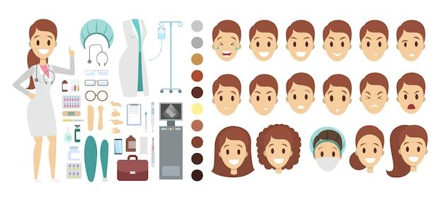 さまざまなビュー、ヘアスタイル、感情、ポーズ、ジェスチャーを備えたアニメーション用のかわいいドクターキャラクターセット。注射器や聴診器などの医療機器。図