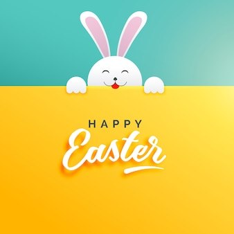 Pretty easter background with a white rabbit