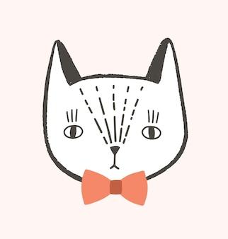 エレガントな蝶ネクタイでかわいい顔や猫の頭