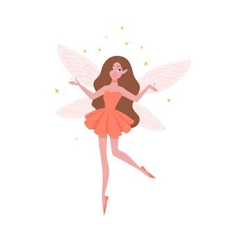아름 다운 드레스와 나비 날개 흰색 배경에 고립 된 예쁜 요정. 동화, 전설, 신화, 민속, 마법의 캐릭터에 나오는 마법의 생물. 플랫 만화 벡터 일러스트 레이 션.