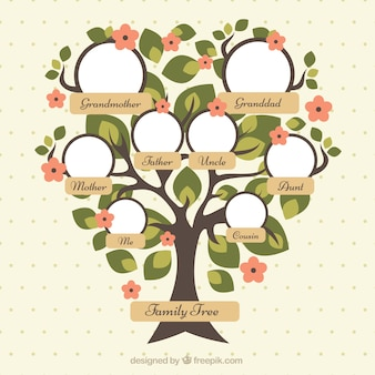 Pretty family tree with green leaves and red flowers