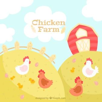 Pretty farm con sfondo di polli