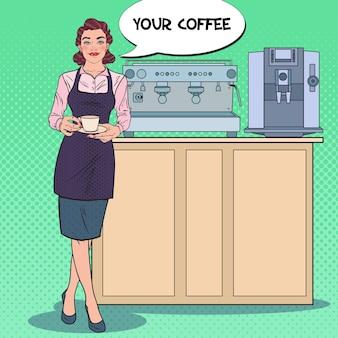 커피 한잔과 함께 예쁜 여성 바리 스타