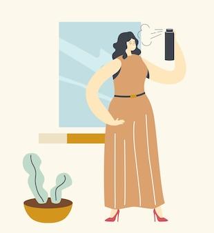 家で髪をスタイリングするかわいい女性キャラクター