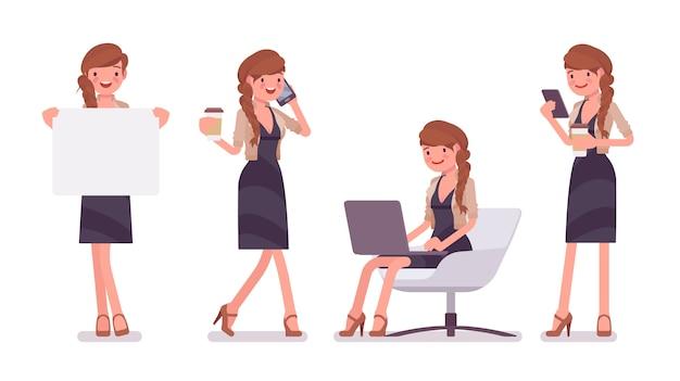 예쁜 여성 사무실 직원의 자에 앉아 작업