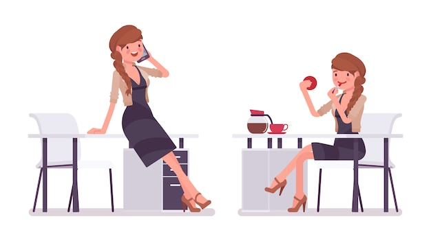 かなり女性会社員が机に座って、電話で話して、化粧をして、休憩。ビジネスカジュアルな女性のファッションのコンセプト。スタイル漫画イラスト、白い背景