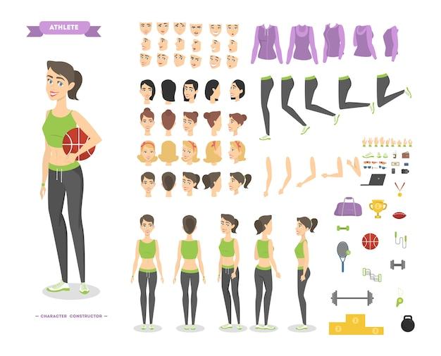 다양한 전망, 헤어 스타일, 감정, 포즈 및 제스처와 애니메이션을위한 예쁜 피트니스 여자 캐릭터 세트.