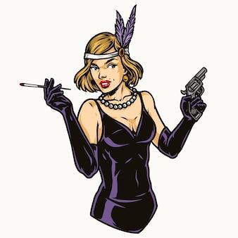 Симпатичная девушка-хлопушка в платье с жемчужным ожерельем держит длинную сигарету и пистолет в изолированном стиле