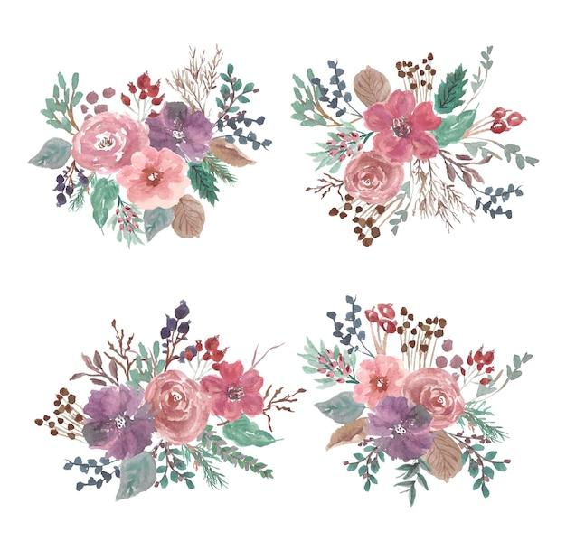 Коллекция акварелей довольно цветочные композиции