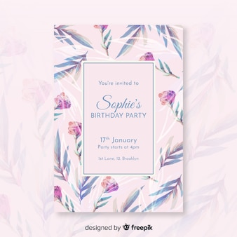 Pretty floral birthday invitation template
