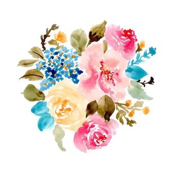 예쁜 꽃 꽃다발 수채화