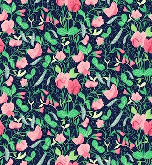 달콤한 완두콩의 꽃으로 예쁜 꽃 패턴입니다. 진한 파란색 배경.