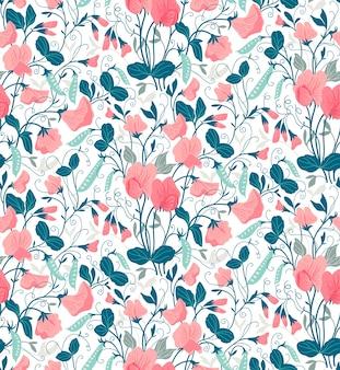 달콤한 완두콩의 꽃으로 예쁜 꽃 패턴입니다. 흰 배경.