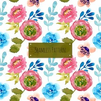 수채화와 예쁜 꽃 원활한 패턴