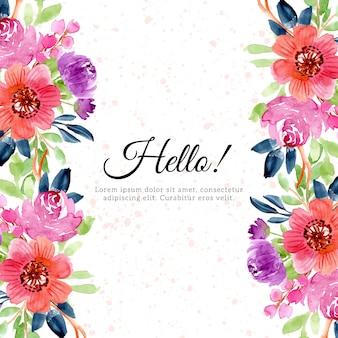 예쁜 꽃 수채화와 질감 배경