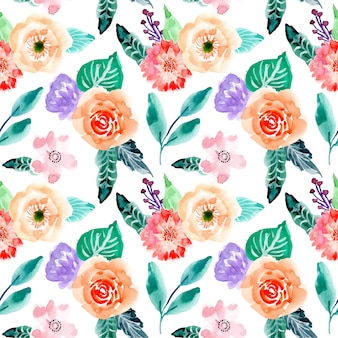 Pretty floral watercolor seamless pattern