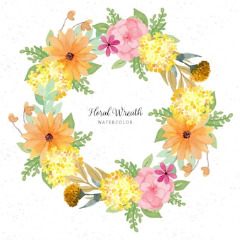 きれいな花の水彩画の花輪