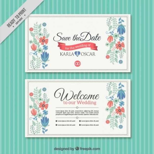 プリティ花の結婚式のカードテンプレート