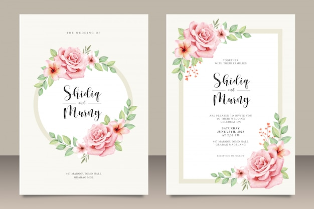 Pretty floral wedding invitation card