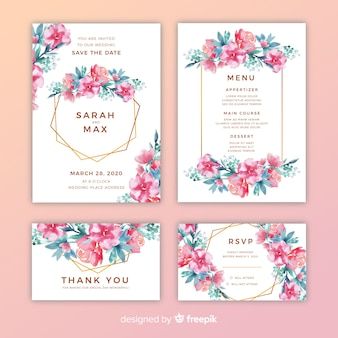 Pretty floral wedding invitations pack