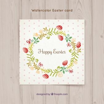 イースターの日のプリティ花の花輪カード