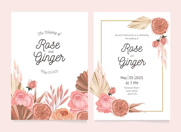 예쁜 꽃 꽃 결혼식 초대 카드 서식 파일