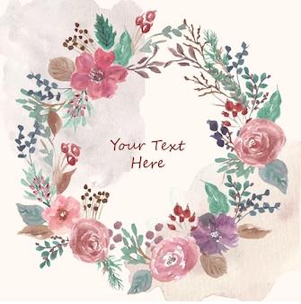 かわいいフラワーガーデンの水彩画の花輪