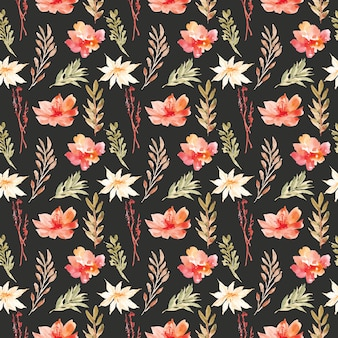 Pretty flower watercolor seamless pattern