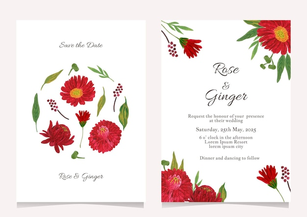 Pretty flower wedding invitation card