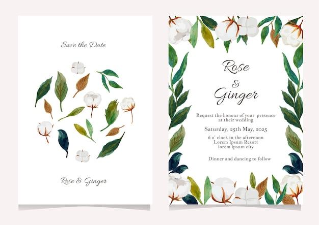 きれいな花の結婚式の招待状のテンプレートセット