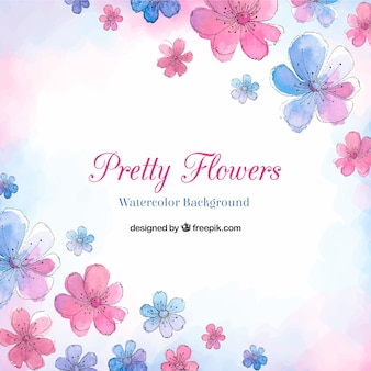 Pretty flowers background in watercolor style
