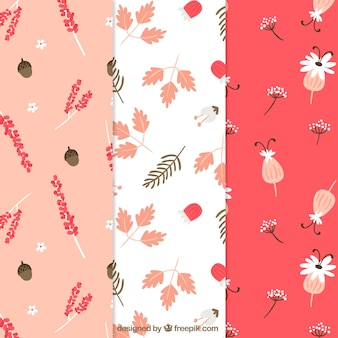 Pretty flowers patterns collection in flat style