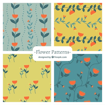 Pretty pattern vectors photos and psd files free download pretty flowers patterns collection in flat style mightylinksfo