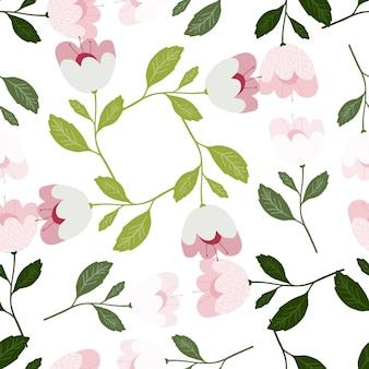 예쁜 꽃 원활한 패턴 흰색 배경에 고립입니다.