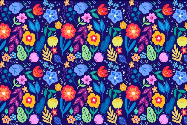 Pretty flowers with seamless pattern background