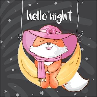 Pretty fox on the moon hand drawn animal