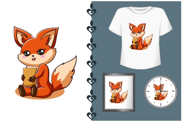Pretty fox with book cartoon illustration